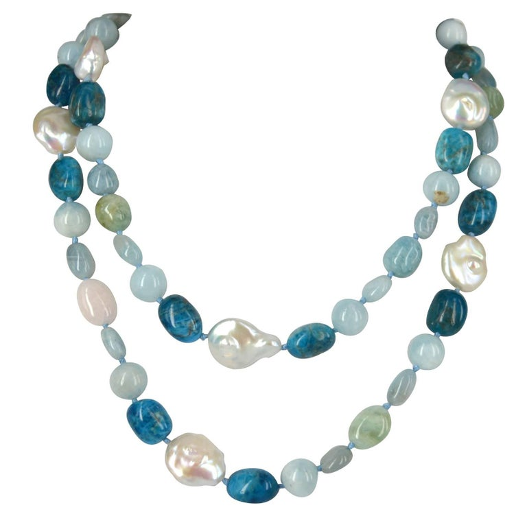 Decadent Jewels Aquamarine Beryl Apatite Pearl Long Silver Necklace For Sale