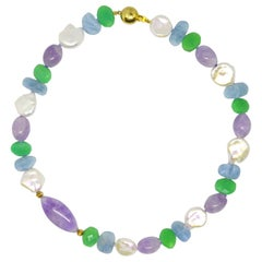 Decadent Jewels Aquamarine Chrysophase Amethyst Pearl Gold Necklace