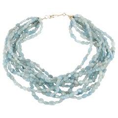 Decadent Jewels Aquamarine Multi Strand Sterling Silver Torsade Necklace