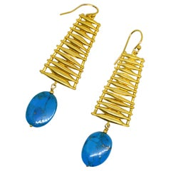 Decadent Jewels Arazonia Turquoise Gold Ladder Earrings