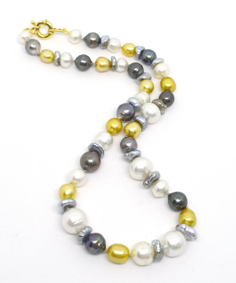 Modern Decadent Jewels Baroque Australian South Sea & Tahitian Pearl 14k Gold Necklace For Sale