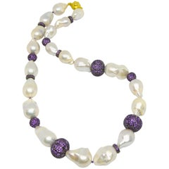 Decadent Jewels Baroque Pearl Pave Amethyst Silver Necklace