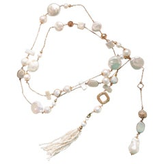 Decadent Jewels Baroque Pearl Gold Chain Lariat Multi Style Tassel Necklace