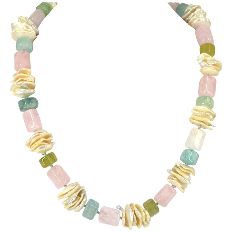 Decadent Jewels Beryl Aquamarine Pearl Silver Necklace For Sale