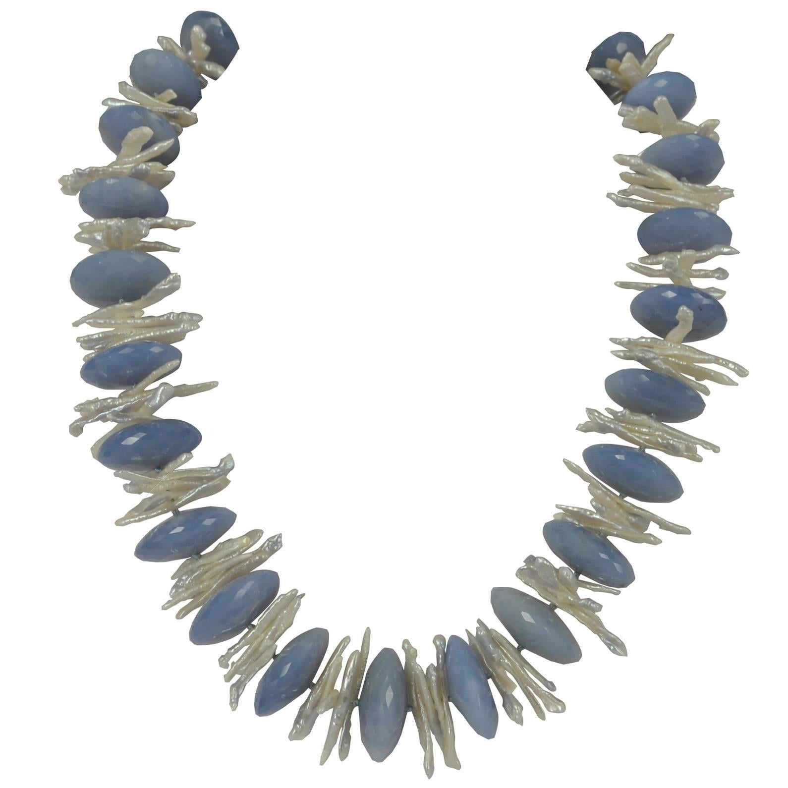 Decadent Jewels Blue Chalcedony Pearl Silver Necklace