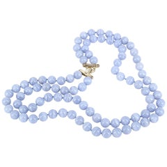 Decadent Jewels Blue Lace Agate Double Strand Sterling Silver Necklace