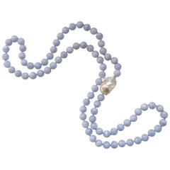 Decadent Jewels Blue Lace Agate with a large Baroque Pearl matinee Necklace