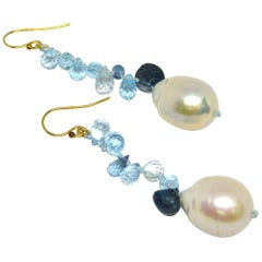 Decadent Jewels Blue Topaz London Blue Topaz Pearl Gold Earrings