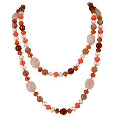 Decadent Jewels Carnelian Pink Moonstone Pearl Rose Quartz Silver Necklace