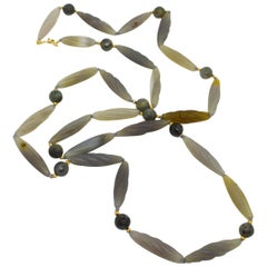 Decadent Jewels Carved Grey Agate Labradorite Gold Filled long Necklace