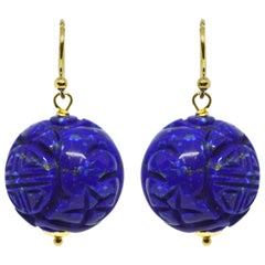 Decadent Jewels Carved Lapis Lazuli Gold Earrings