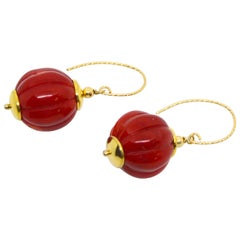 Decadent Jewels Carved Red Coral Gold Earrings