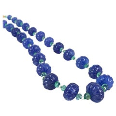 Decadent Jewels Carved Tanzanite Emerald Pearl Gold Necklace