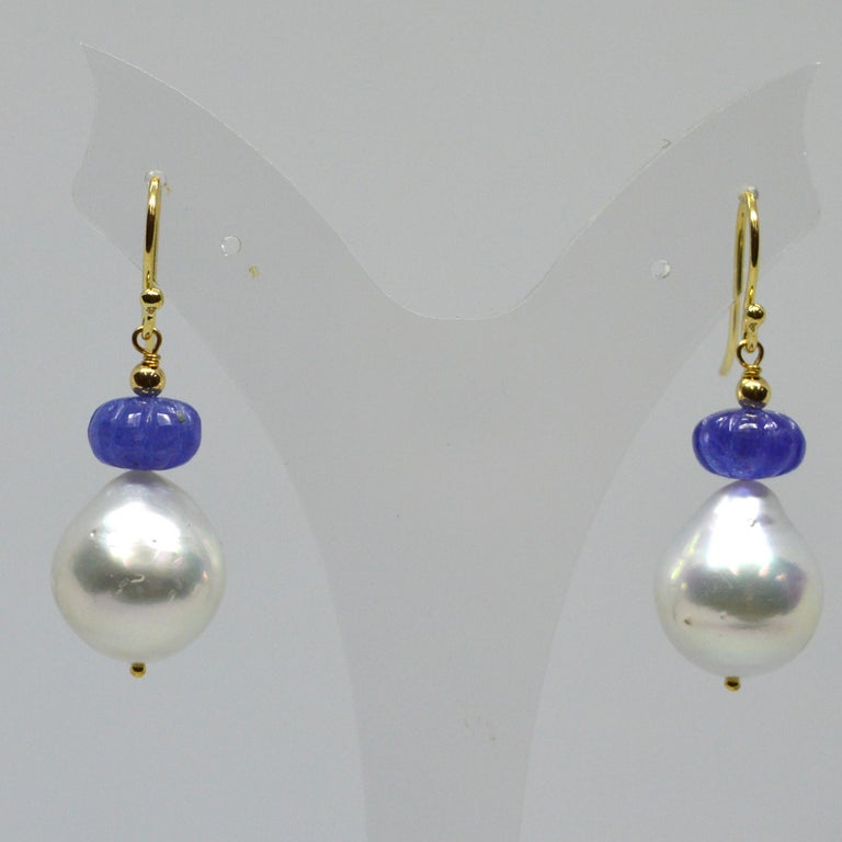 Decadent Jewels Carved Tanzanite South Sea Pearl 9k &14k Gold Earrings In New Condition For Sale In Sydney, AU
