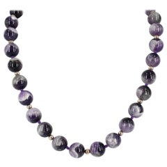 Decadent Jewels Chevron Amethyst Round Sterling Silver Necklace