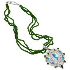 Decadent Jewels Chrome Diopside Blue Topaz Sapphire Silver Pendant Necklace