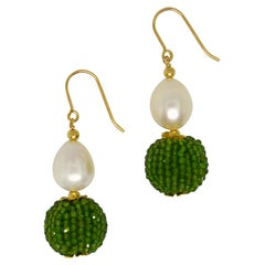 Decadent Jewels Chrome Diopside Fresh Water Pearl Gold Drop Earrings