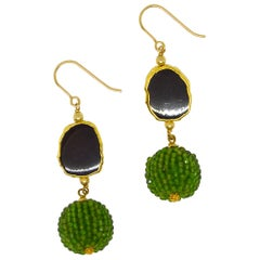 Decadent Jewels Chrome Diopside Onyx Gold Drop Earrings
