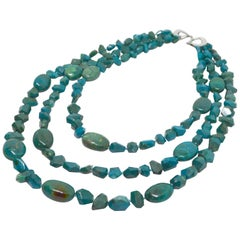 Decadent Jewels Chrysocolla 3-Strand Toursade Sterling Silver Necklace