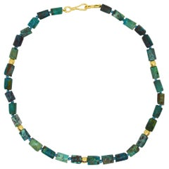 Decadent Jewels Chrysocolla Gold Necklace