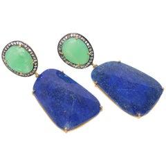 Decadent Jewels Diamond Chrysoprase Lapis Earrings