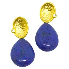 Decadent Jewels Dumortierite Gold Stud Earrings