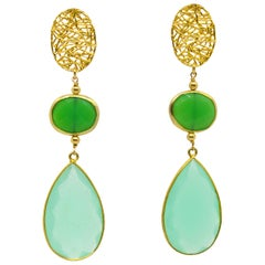 Decadent Jewels Dyed Chrysoprase Chalcedony Stud Earrings