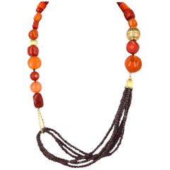 Decadent Jewels Garnet Coral Gold Necklace