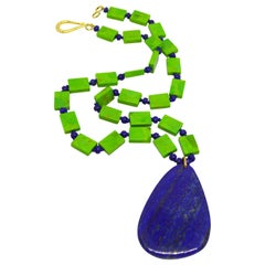 Decadent Jewels Green Mojave Turquoise Lapis Lazuli Gold Pendant Necklace