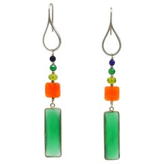 Decadent Jewels Green Onyx Carnelian Peridot Lapis Earrings