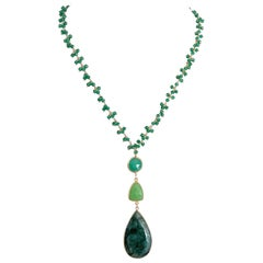 Decadent Jewels Green Onyx Chrysophase Emerald Gold Pendant Necklace