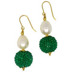 Decadent Jewels Green Onyx Fresh Water Pearl Gold Drop Earrings