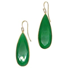 Decadent Jewels Green Onyx Teardrop Gold Drop Earrings