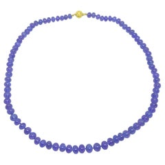 Decadent Jewels High Quality Tanzanite Graduated Gold Necklace