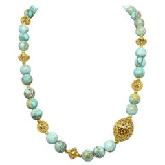 Decadent Jewels Impression Jasper with Statement Gold-Filled Beads Necklace
