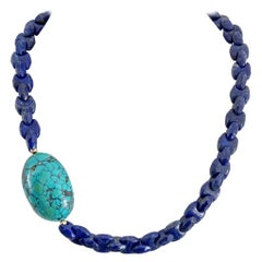 Decadent Jewels Interlocking Lapis Lazuli Large Turquoise Nugget Gold Necklace