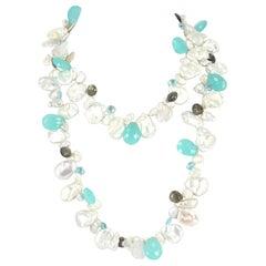 Decadent Jewels Keshi Pearl Blue Topaz Labradorite Chalcedony Silver Necklace