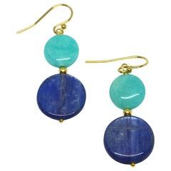 Decadent Jewels Kyanite Amazonite Gold Earrings