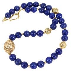Decadent Jewels Lapis Gold Necklace