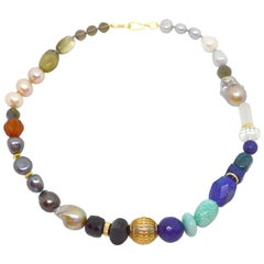 Decadent Jewels Lapis Lazuli Amazonite Labradorite Carnelian Onyx Pearl Necklace