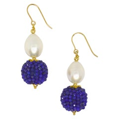 Decadent Jewels Lapis Lazuli Fresh Water Pearl Gold Drop Earrings
