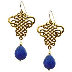Decadent Jewels Lapis Lazuli Gold drop Earrings