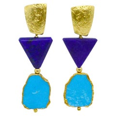 Decadent Jewels Lapis Lazuli Turquoise Gold Stud Earrings