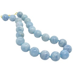 Decadent Jewels Large Aquamarine Ball Gold Necklace