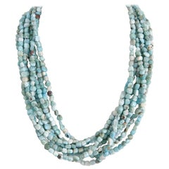 Decadent Jewels Larimar Nugget Multi-Strand Sterling Silver Torsarde Necklace