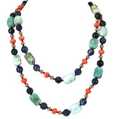 Decadent Jewels Larimar Sodalite Apricot Coral Rose Gold long Necklace