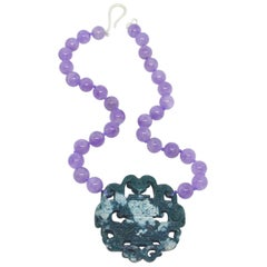 Decadent Jewels Lavender Amethyst Carved Jade Sterling Silver Necklace