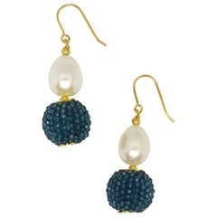 Decadent Jewels London Blue Topaz Fresh Water Pearl Gold Drop Earrings