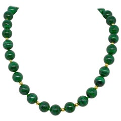 Decadent Jewels Malachite Polished High Grade Spheres Gold Necklace