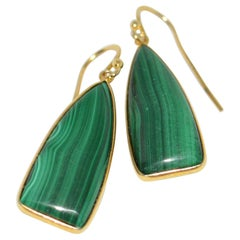 Decadent Jewels Malachite Sterling Silver Gold-Plated Earrings
